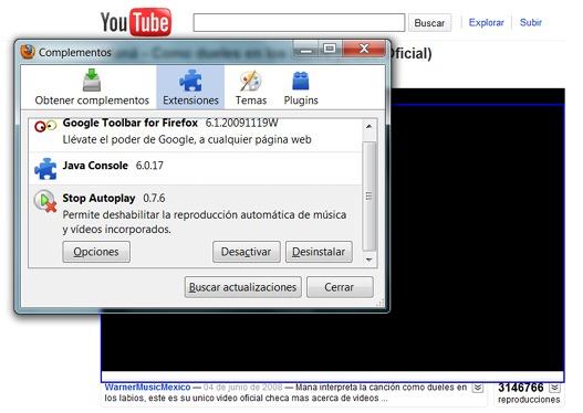 Desactivar auto-reproducción en Youtube (Firefox)