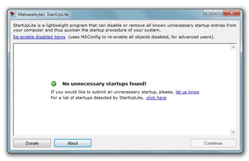 Malwarebytes StartUpLite