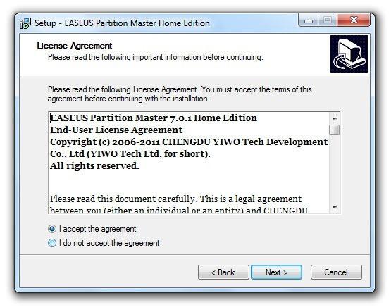 Instalación de EASEUS Partition Master 2