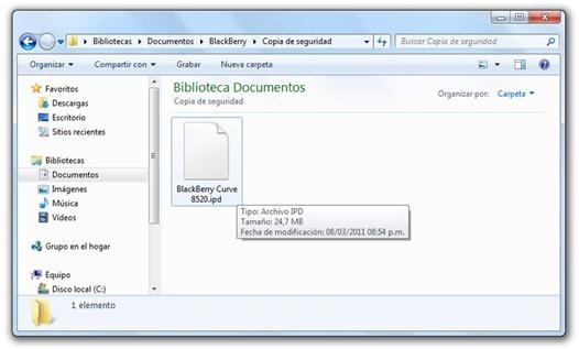 Archivo IPD del BlackBerry
