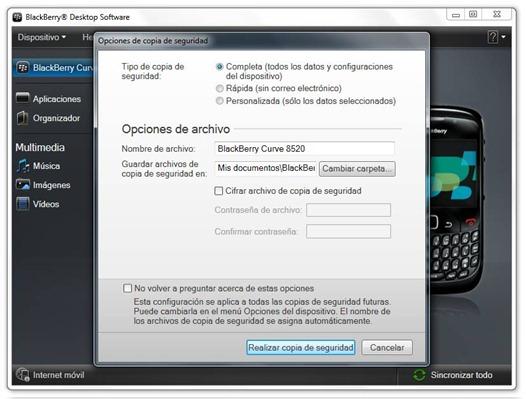 Backup con BlackBerry Desktop Software