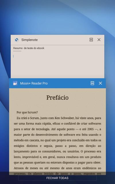 Leitor de ebooks e app de notas