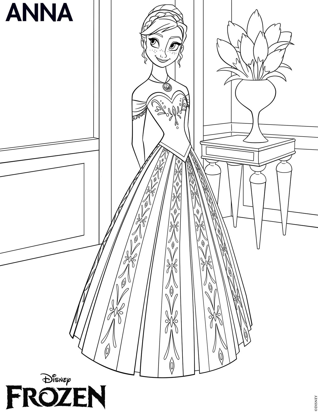 Disegni da colorare di Frozen da stampare gratis_Anna 2