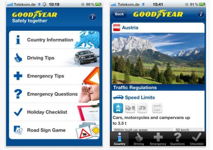 Road Safety App Europea di Goodyear indispensabile compagna di viaggio