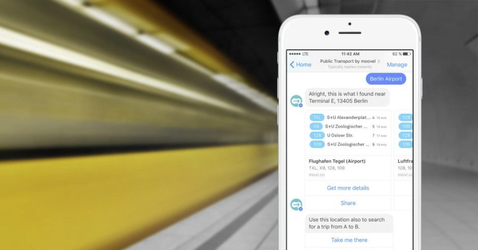 Der moovel Chatbot zeigt im Umkreis verfügbare Verbindungen mit Bus und Bahn direkt im Facebook Messenger an. ; With just one click, the moovel chatbot for Facebook Messenger displays all available local public transport connections nearby.;