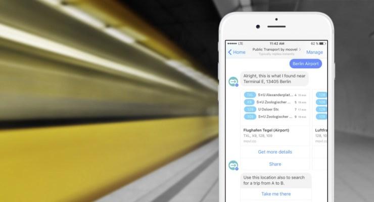 moovel lancia l'assistente alla mobilità per Facebook Messenger