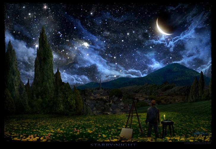noche estrellada vincent van Gogh realista