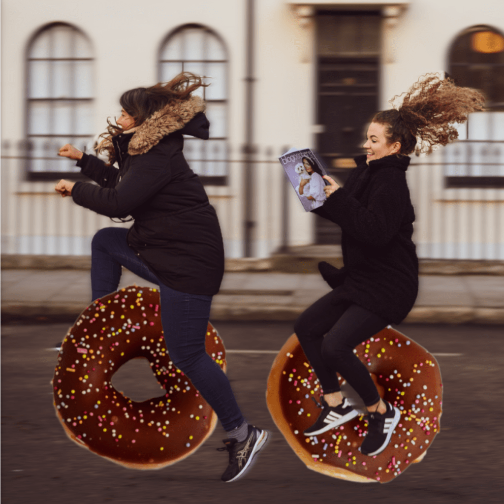 Blogosphere team riding a doughnut bicycle