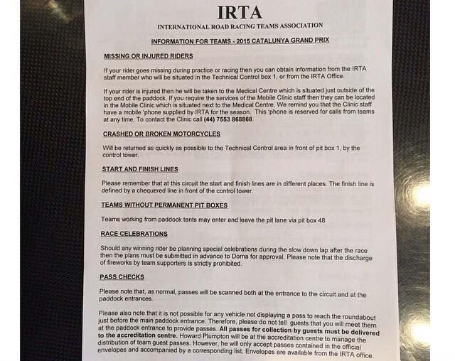 Surat Aturan IRTA di Moto GP