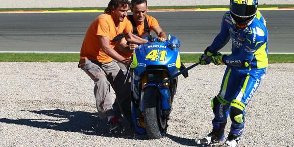 Aleix Espargaro Crash tes pramusim MotoGP 2016