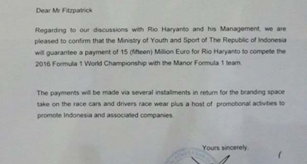 Surat Menpora rela nyicil demi Rio Hariyanto ke balap F1