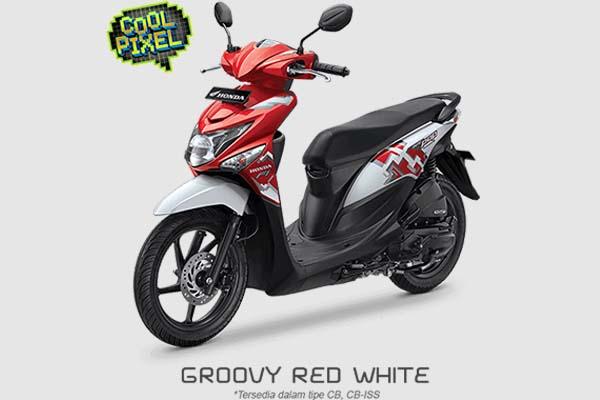 Pilihan Warna Honda BeAT POP Cool Pixel warna Merah Putih
