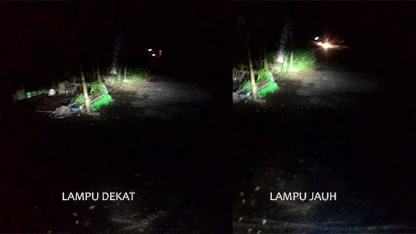 Sinar Lampu LED jarak dekat dan jauh