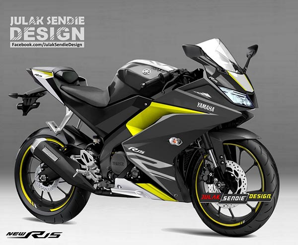 Render New Yamaha R15 2017 Silver-yellow