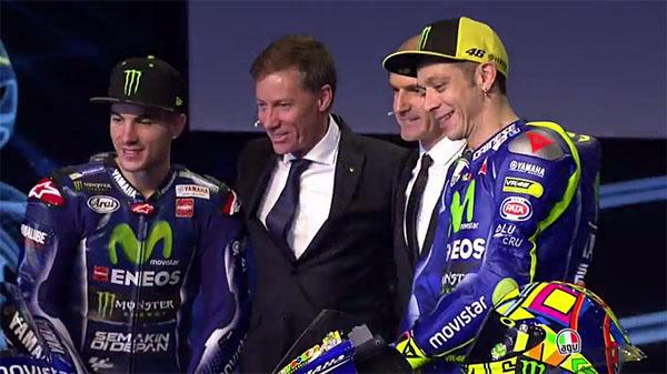Vinales dan Rossi bersama Lin Jarvis dan Maregalli