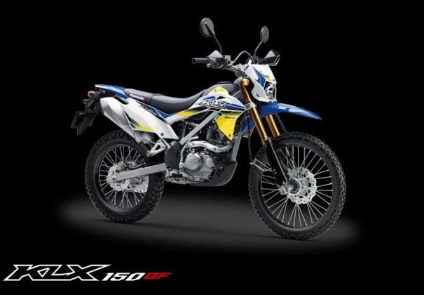 Kawasaki KLX 150BF Special Edition dengan USD Gold warna Biru