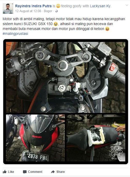 Suzuki GSX-R150 berusaha digondol maling