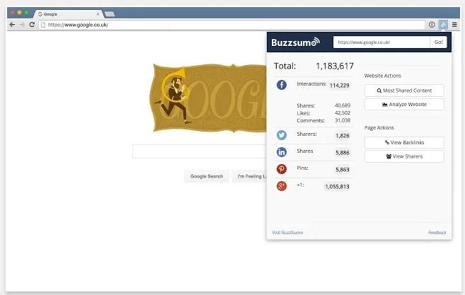 La extensión para Chrome de Buzzsumo te permite recuperar el contador de Twitter