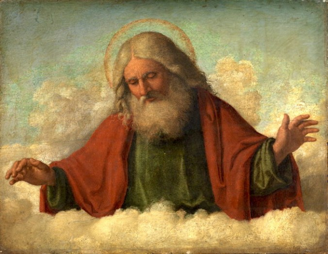 Christian God, bearded and haloed, looks down from a cloud