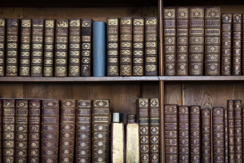 Shelves of old harback books