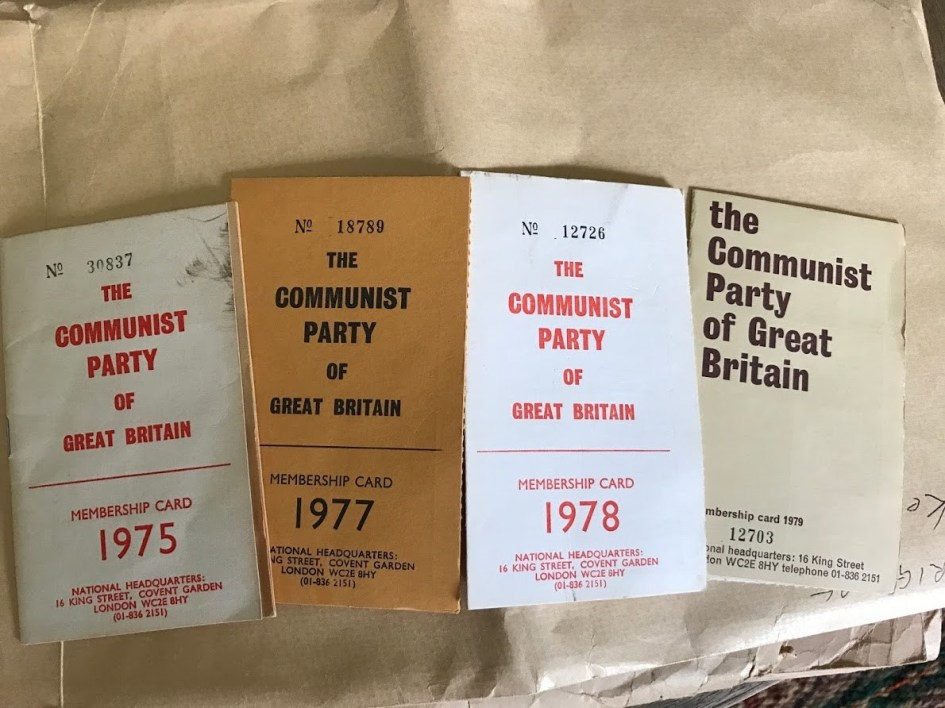 The Communist Party of Great Britain membership cards and leaflet, 1975-1978
