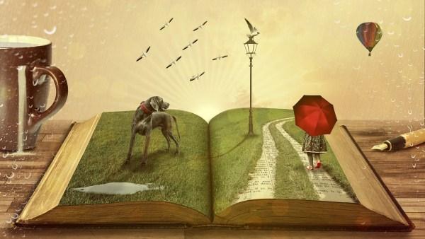 Taking a walk on a book, a barking dog, green gras, seaguls, a mug, a pen, a hot air balloon