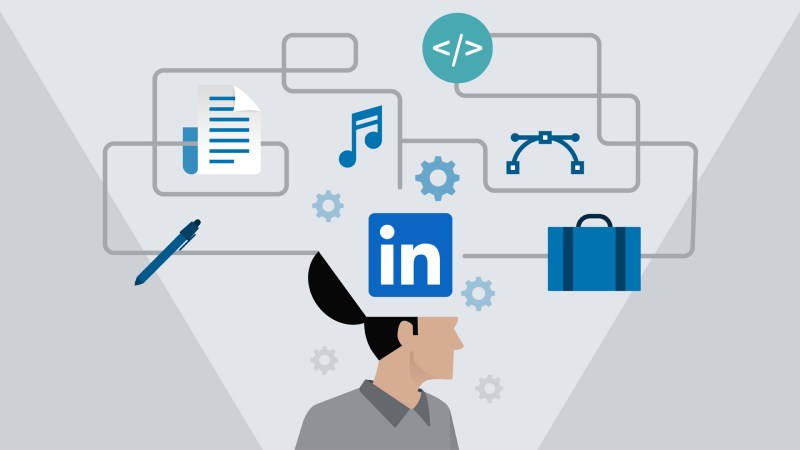 LinkedIn Learning poster with a man. His head is open and several types of information is flowing into his head.