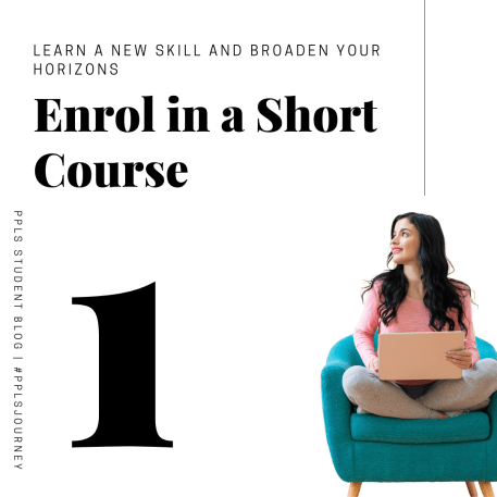 1. Enrol in a short course, a lady sitting cross legged in a blue chair with a laptop on her lap.