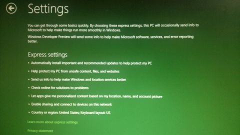 Windows 8 developer Preview installation Settings