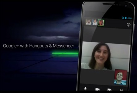 Android Ice Cream sandwich Google+ Hangout
