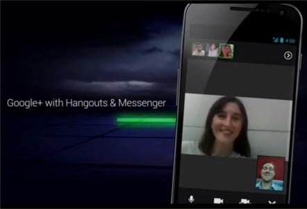 Android Ice Cream sandwich Google+ Hangout