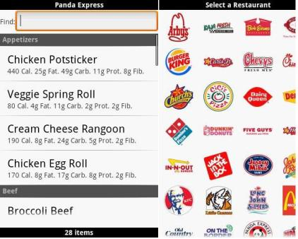 Android Fast Food Calorie Counter apps