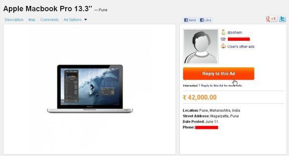 OLX.in Pune Mac book deal