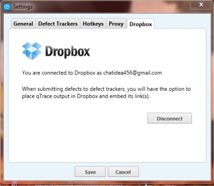 Dropbox qTrace Screenshot report upload