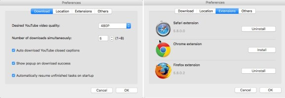 KeepVid Browser Extention Preferances Settings
