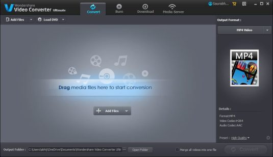 Wondershare Video Converter Ultimate Main Interface