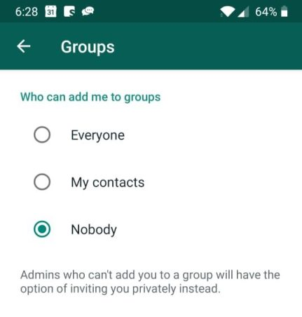 setting Stop People from Adding You into Unnecessary WhatsApp Group