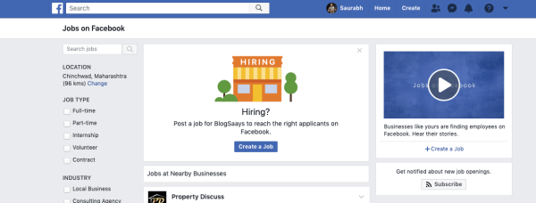 Facebook Jobs Marketplace