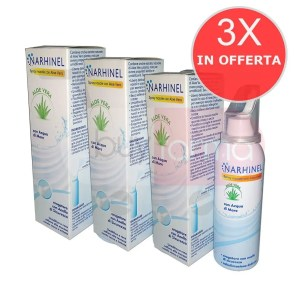 3X NARHINEL - Spray Nasale Isotonico da 100ml - CON ACQUA MARINA E ALOE VERA