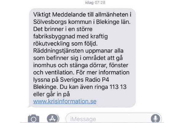 Location-Based SMS Esempio di Public Warning System