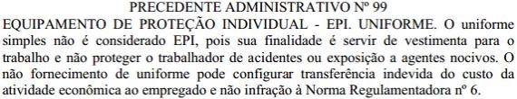 Precedente Administrativo nº 99 - MTE