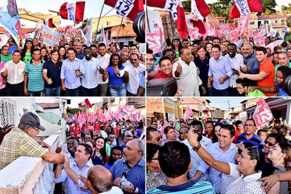 """Caminhada """"Todos com Edivaldo"""" arrasta multidão no Caratatiua"""