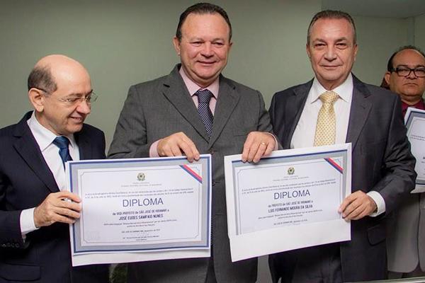 Vice-prefeito Eudes Sampaio, Carlos Brandão vice-governador e o prefeito Luís Fernando Silva