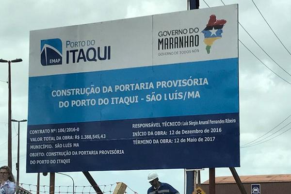 Portaria provisória   do Porto do Itaqui custará aos cofres públicos  R$ 1.388.545,43