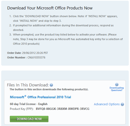 microsoft word 2010 product activation key