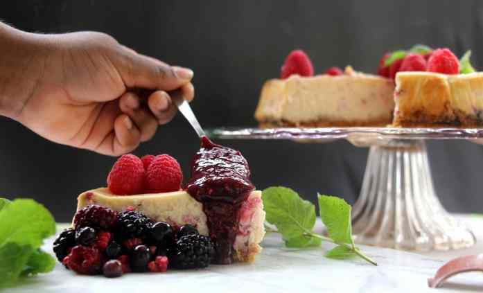 Gluten free baked Raspberry Cheesecake 13