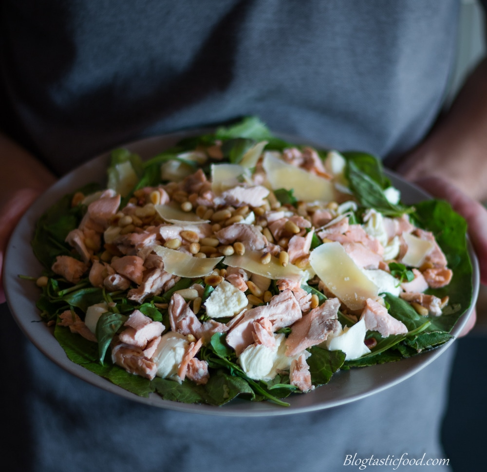 Flaked salmon salad