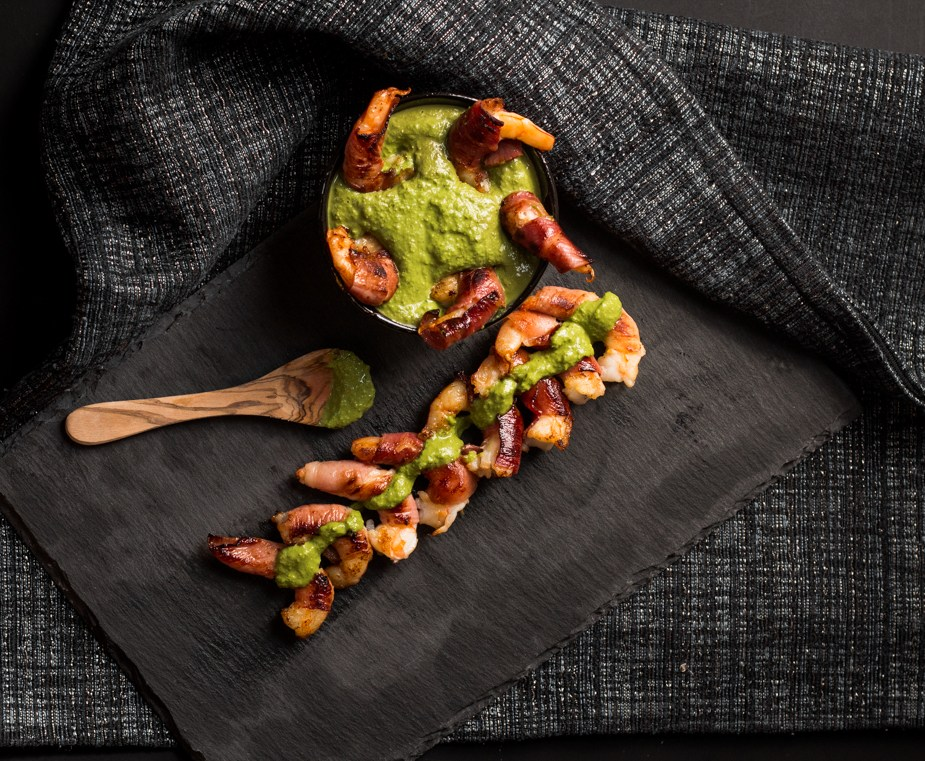Prosciutto Wrapped Prawns With Pesto Dip Appetizer