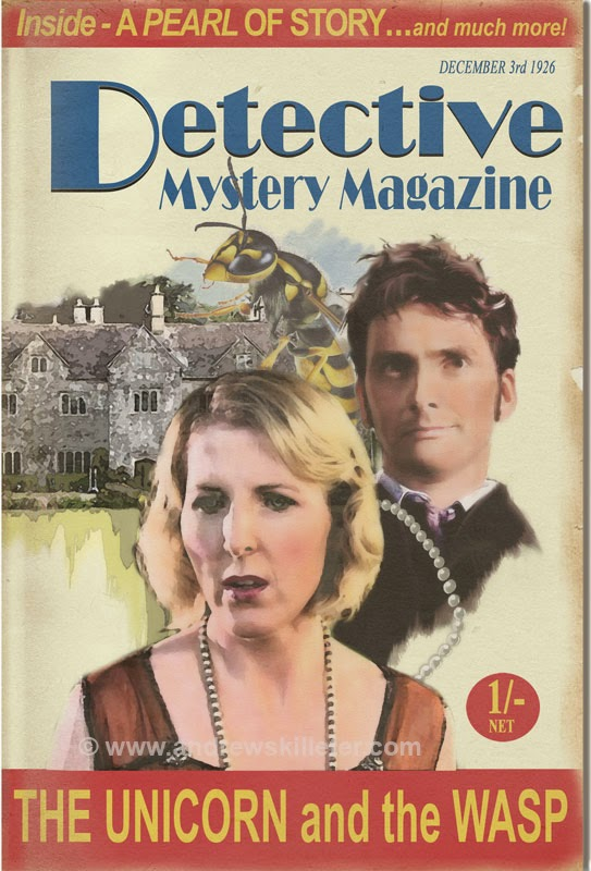 The Tenth Doctor, Agatha Christie and a giant wasp (c) BBC