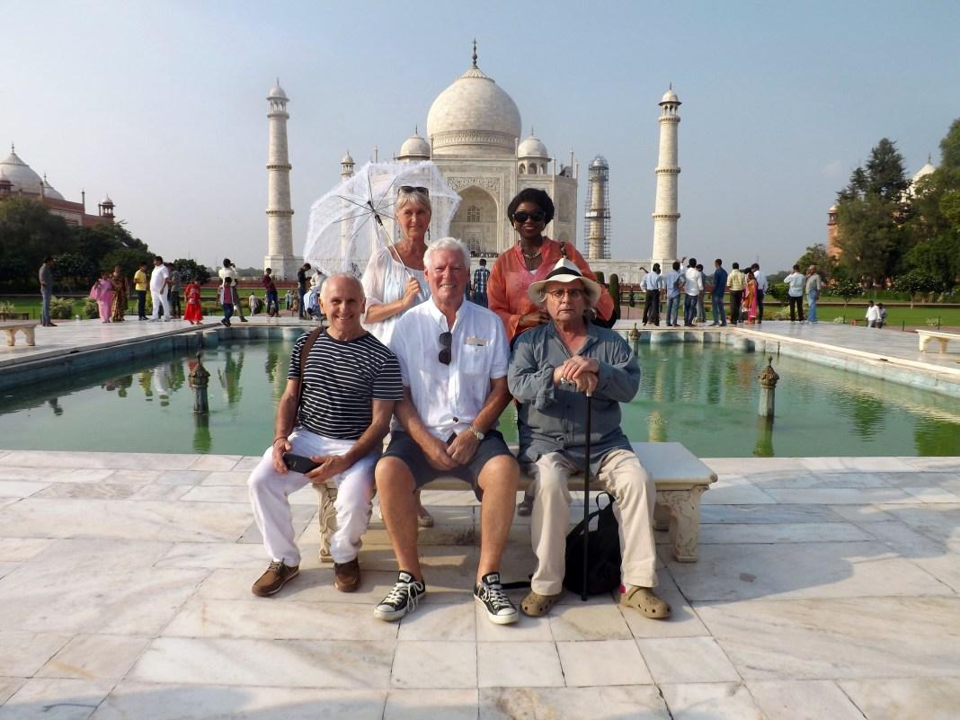 The Real Marigold Hotel - TX: n/a - Episode: The Real Marigold Hotel (No. n/a) - Picture Shows: Cast at the Taj Mahal Wayne Sleep, Jan Leeming, Roy Walker, Patti Boulaye, Sylvester McCoy - (C) Twofour - Photographer: -